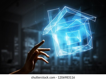 Close of woman hand touch with finger home constellation sign. 3d rendering