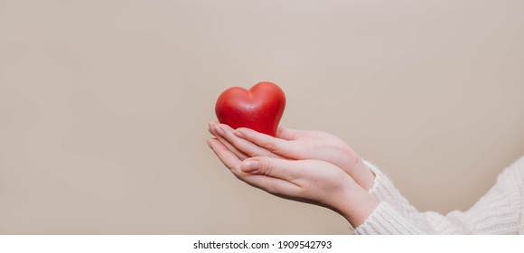 Close up of woman hands holding giving red heart shape. People, love, charity, health and family concept.