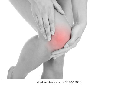 Close up of woman leg injury isolated on white background