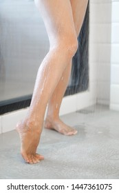 Close up woman legs with taking a shower in the bathroom, health care and beauty
