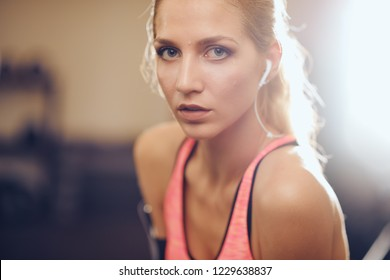 Close up of woman looking at camera. Sweat on face, earphones in ears, back light. Gym interior, healthy lifestyle concept.