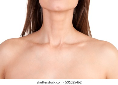 Close up of woman neck and shoulders