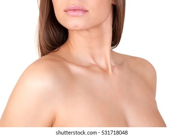 Close up of woman neck and shoulders. Different poses
