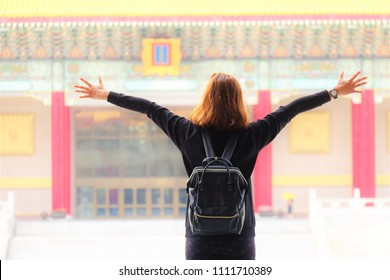 close up woman standing at Chiang Kai-Shek memorial hall Taiwan background