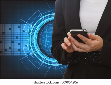 Close up of a woman using mobile with abstract technology futuristic blue innovation background