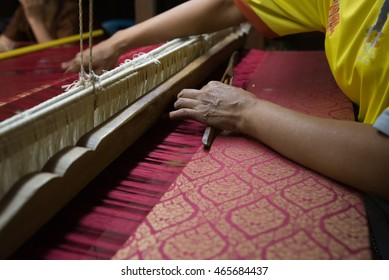 close up of woman weaving,northeastern in Thailand.
