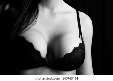Close up of a woman's breasts