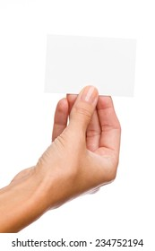 Close up of woman's hand holding blank white card. Studio shot isolated on white.