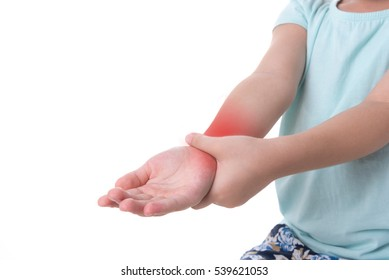 Close up woman's hand holding children's elbow. Elbow pain concept.
