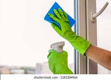 Close up of woman's hands in green rubber gloves cleaning window with cleanser spray and blue rag at home or in office. Free space for text. Cleaning service, housework and housekeeping concept.
