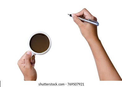 Close up of women arm writing with metallic pen. Isolated on white background Hand Holding a pen on white background coffee cup hand