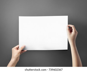 Close up women holding a paper blank A4 size on grey table top view
