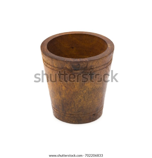 Close up of wood empty wooden bowl isolated on white background.