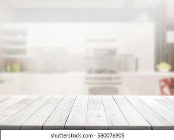 Close Up wood table with blur background