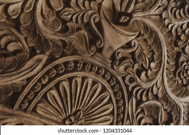 close up of a wooden carved Zanzibar chest.