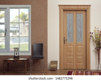 close up for wooden door