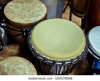 close up wooden handdrums in the studio