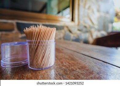 Close up of wooden toothpicks that placed on table