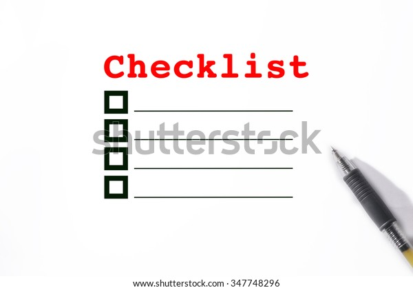 Close up Word Check list on paper