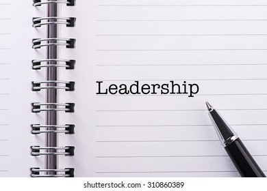 Close up Word Leadership on notebook