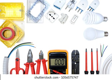 Close up of work tools and components for residential electrical installation isolated on white background. Space for text / announcement