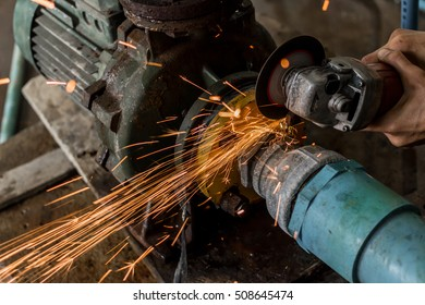close up of a worker grinding