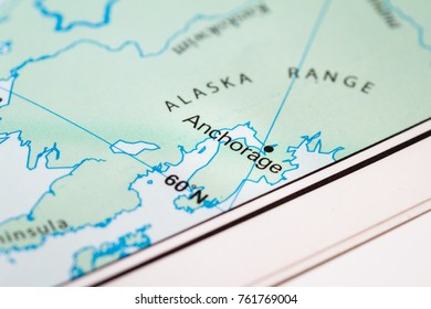 Alaska map stock photos images photography shutterstock close up of a world map with anchorage a section of alaska in focus gumiabroncs Gallery