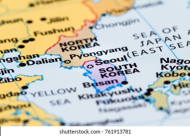 close up of a world map with the border between  North and South Korea in focus