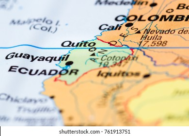 Guayaquil ecuador stock photos images photography shutterstock guayaquil ecuador close up of a world map with the city of quito in focus gumiabroncs Images