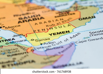 close up of a world map with the country of Yemen in focus