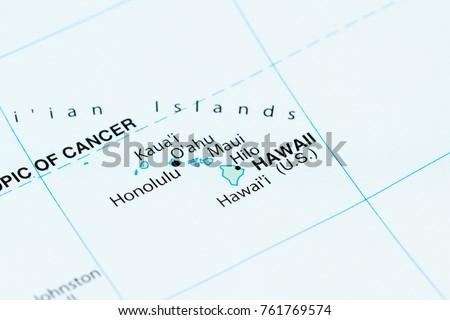 Close World Map Hawaii Focus Stock Photo Edit Now 761769574