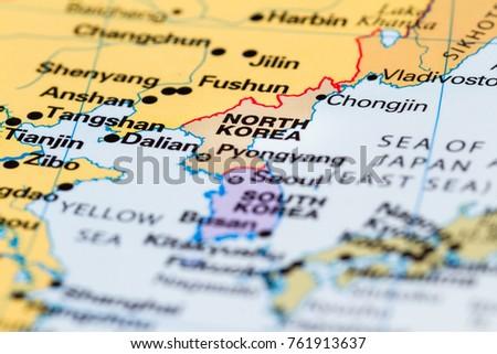 Close World Map North Korea Focus Stock Photo (Edit Now) 761913637 ...