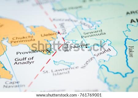 Close World Map Section Alaska Reaching Stock Photo Edit Now