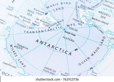 close up of a world map with the word Antartica in focus