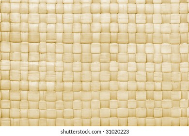 Close up of woven palm leaves mat texture for background
