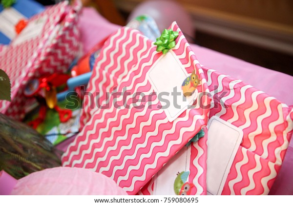 Close Wrapped Birthday Gifts Stock Photo Edit Now 759080695