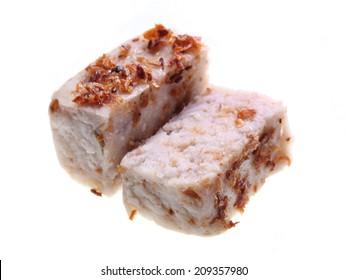 Close up of yam cake isolated on white background.