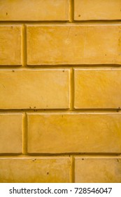 Close up yellow bricks wall patterns texture and background for design and architect, Beautiful brick wall for decoration