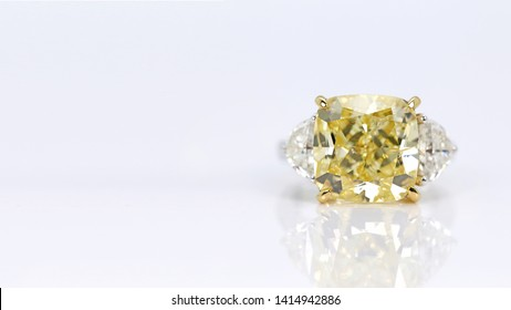 Close up of yellow diamond ring jewelry. space for your text.