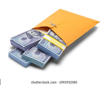 Close up of Yellow Envelope Filled with Hundred Dollar Bills Isolated on a White Background.