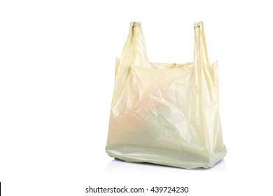 Close up yellow plastic bag isolated on white background
