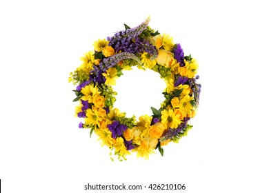 close up yellow roses wreath of flowers isolated on white background