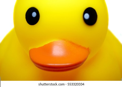 close up of yellow toy rubber duck