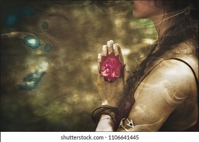 close up of yoga woman hands in namaste gesture with rose flower, vintage look