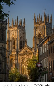 Close up of York Minster lit up by evening light. Photographed in England/York, North Yorkshire on the 20/07/2016