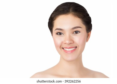 Close up of young Asian beautiful woman's face isolated on white background.