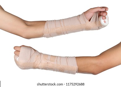 Close up of young asian boy with arm plaster fiberglass cast covering the wrist finger and arm. Student broken bone finger and arm in an accident isolated in white background.