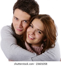 Close up of young attractive couple passionately in love holding isolated on white