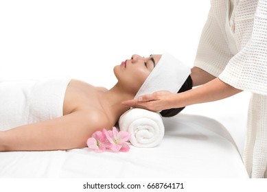 Close up of young beautiful woman getting spa massage treatment at beauty spa salon, Beauty healthy lifestyle and relaxation concept