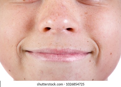 Close up of a young caucasian teenage boy's face